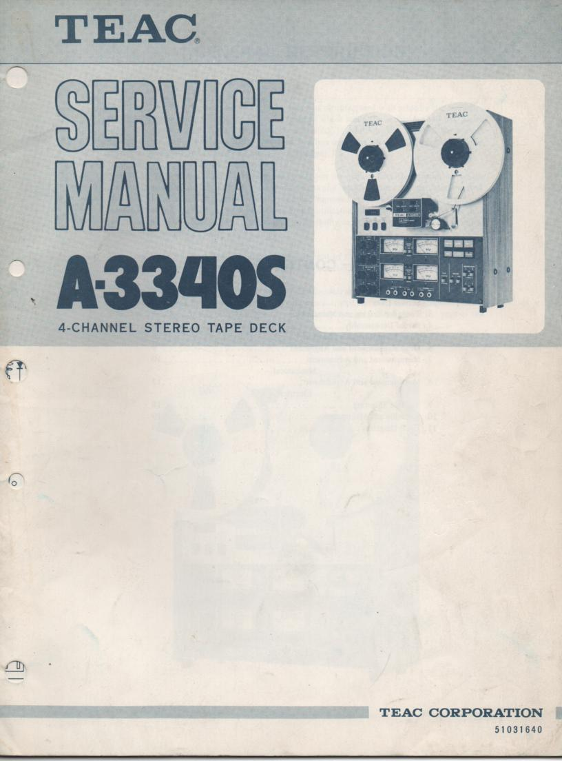 A-3340S 1975 Reel to Reel Service Manual Set  TEAC