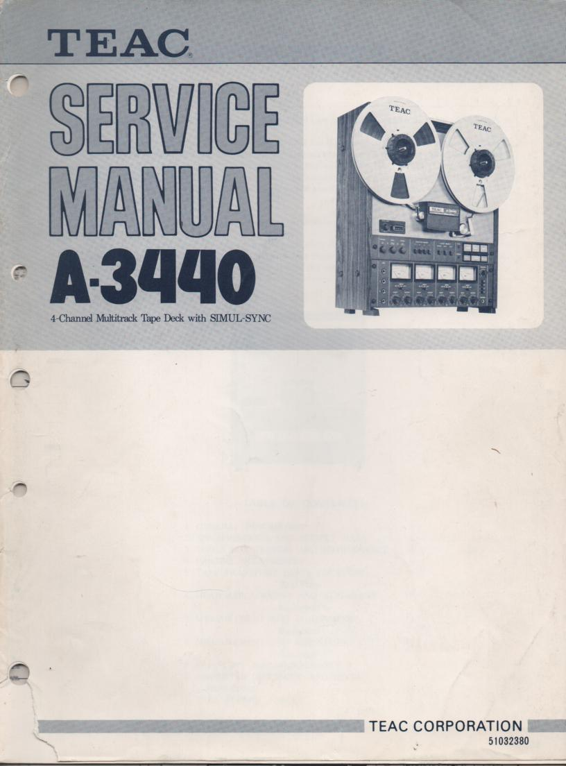 A-3440 Reel to Reel Service Manual Set  TEAC