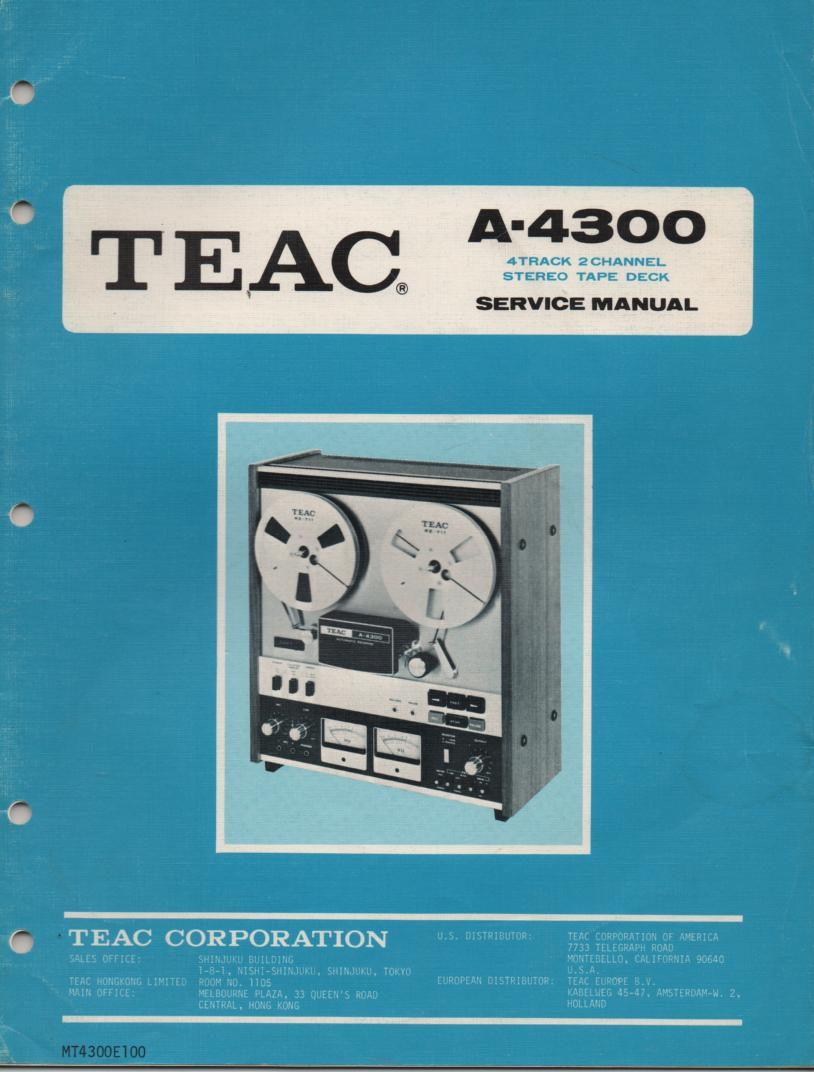 A-4300 Reel to Reel Service Manual  TEAC