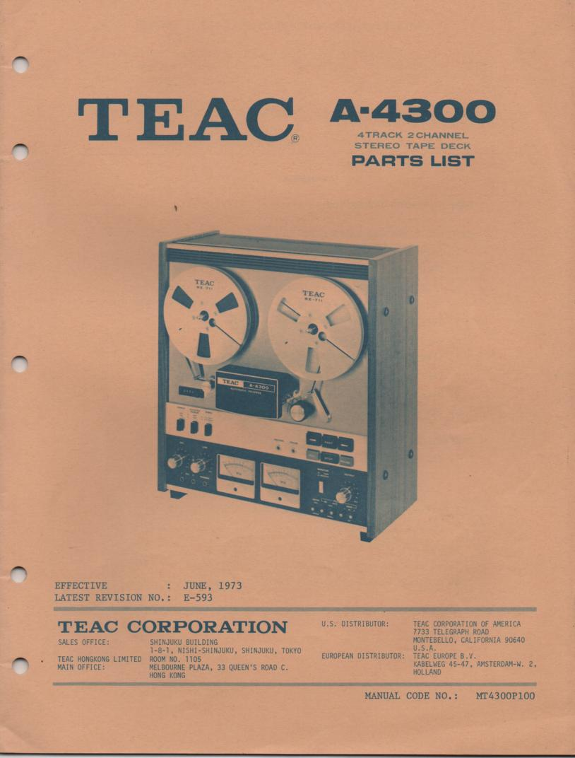 A-4300 Reel to Reel Service Parts Manual  TEAC