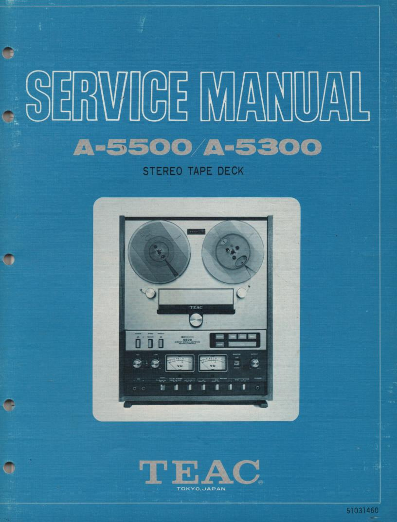 A-5500 A-5300 Reel to Reel Service Manual  TEAC
