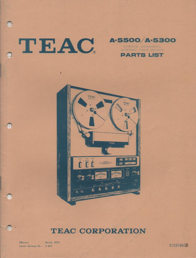 A-5500 A-5300 Reel to Reel Service Parts Manual  TEAC