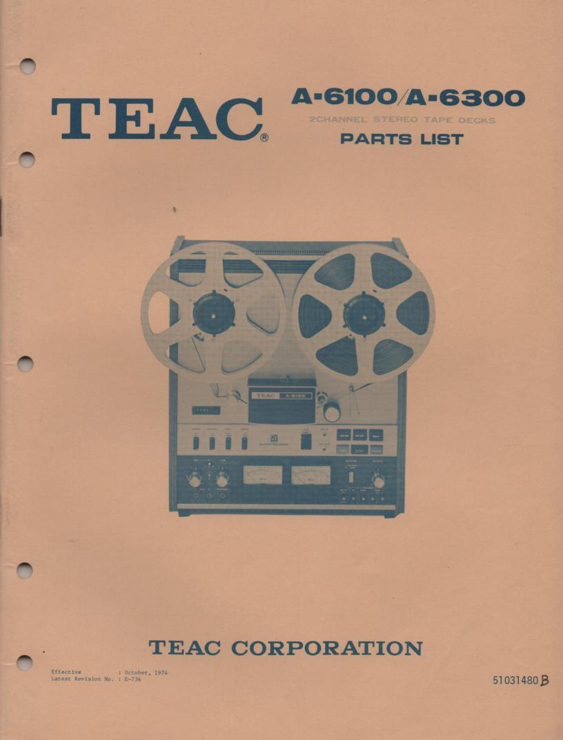 A-6100 A-6300 Reel to Reel Service Parts Manual Only  TEAC