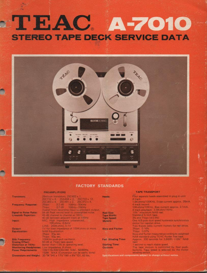A-7010 Reel to Reel Service Manual  TEAC