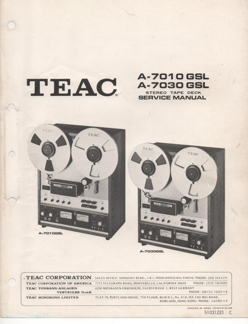 A-7010GSL A-7030GSL Reel to Reel Service Manual  TEAC