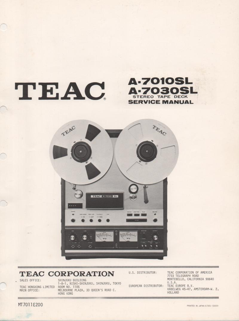 A-7030SL Reel to Reel Service Manual  TEAC