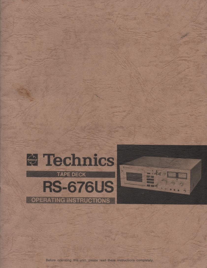 RS-676US Cassette Deck Owners Manual.