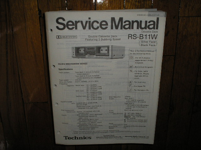 RS-B11W Cassette Deck Service Manual.  2 Manuals