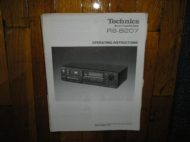 RS-B207 Cassette Deck Operating Instruction Manual