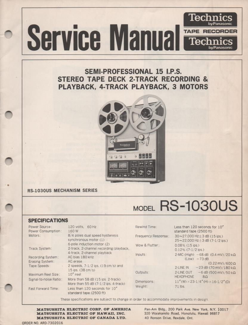 RS-1030US Reel to Reel Service Manual. Comes with 2 manuals..  service manual and parts manual..