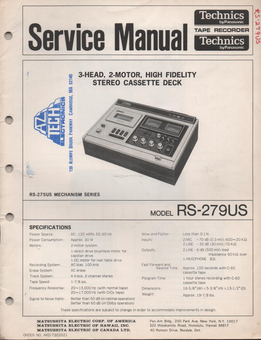 RS-279US Cassette Deck Service Instruction Manual