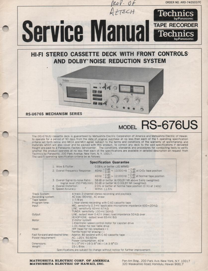 Technics RS-T262 Cassette Deck Service Manual