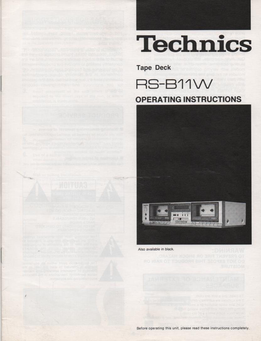RS-B11W Cassette Deck Operating Instruction Manual