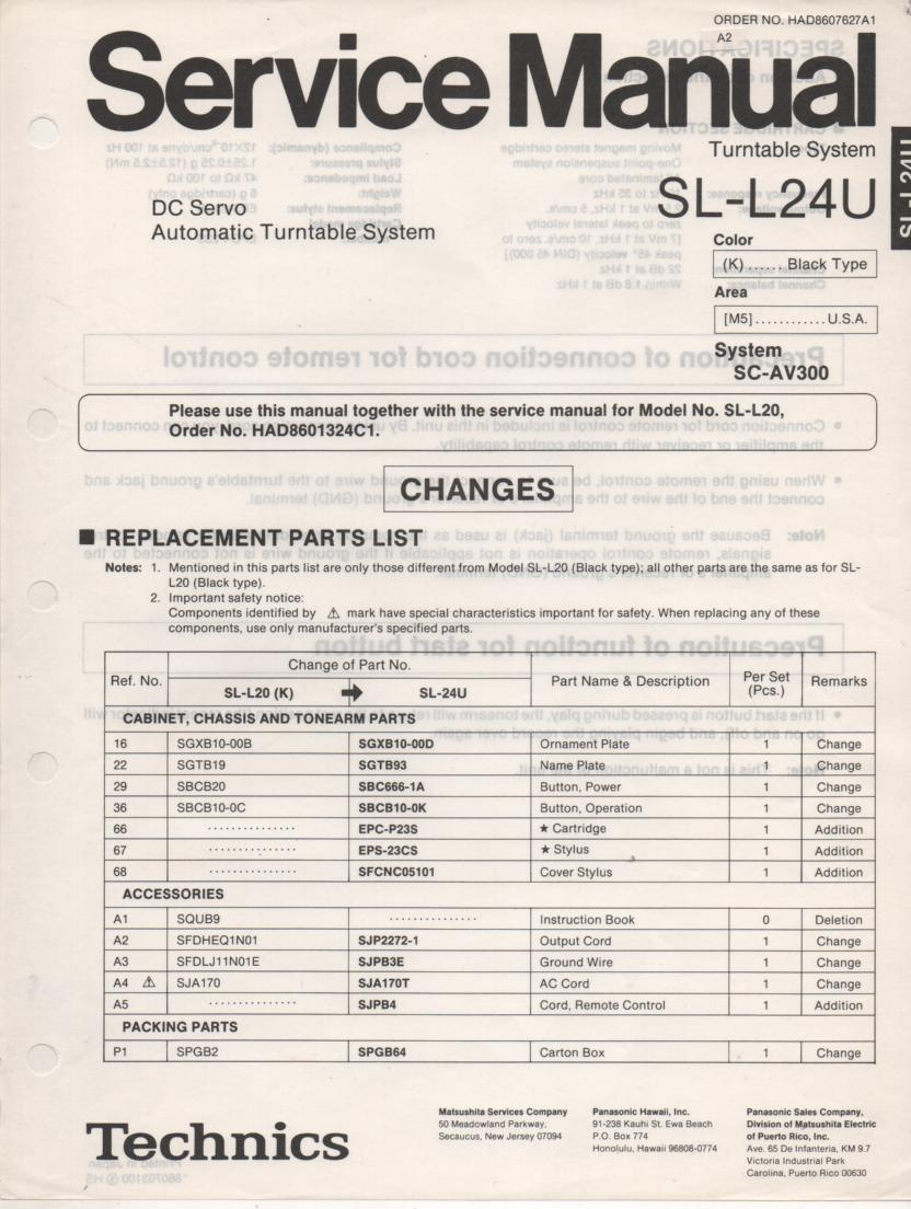 SL-L24U Turntable Service Manual covers M K versions