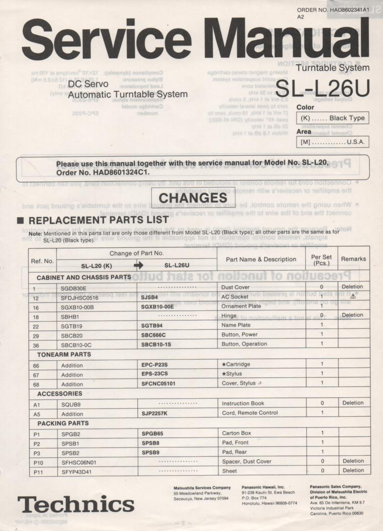 SL-L26U Turntable Service Manual covers M K versions
