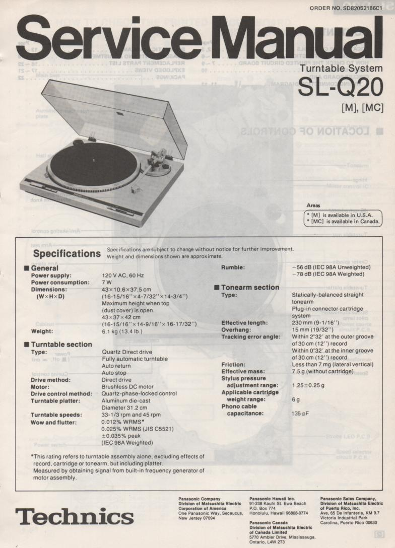 SL-Q20 Turntable Service Manual covers M MC versions.