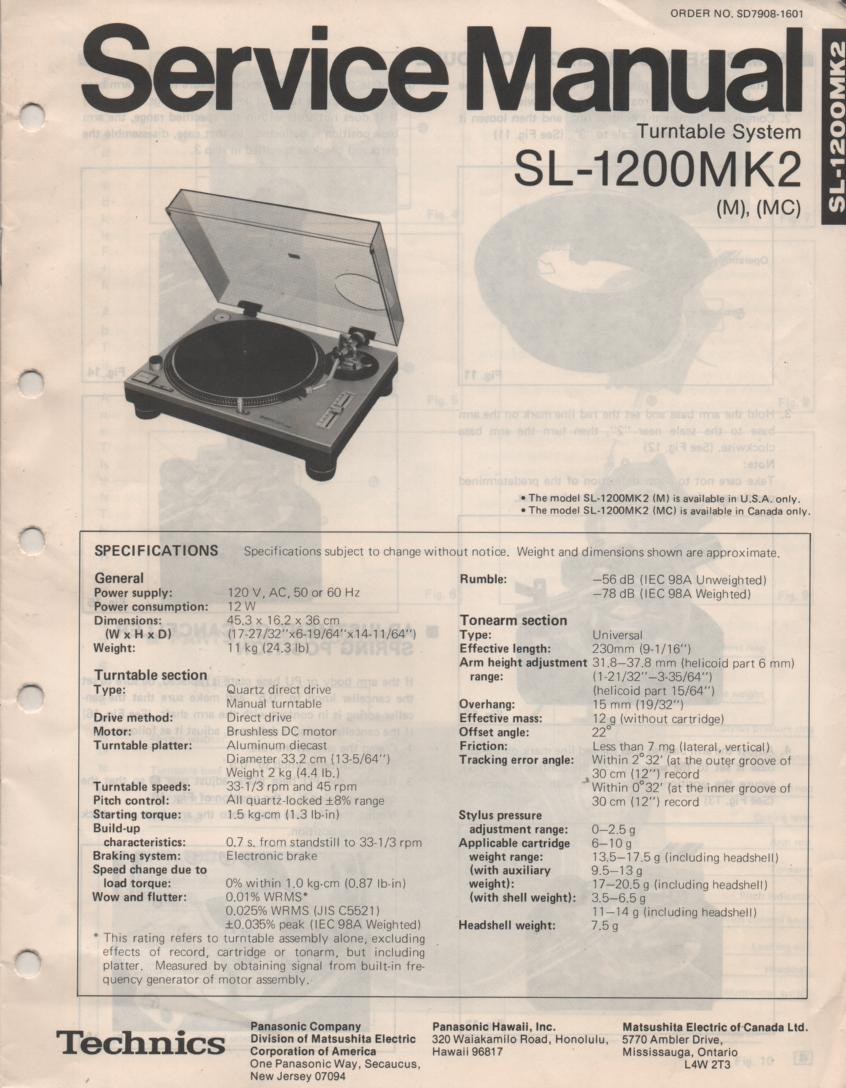 SL-1200MK2 Turntable Service Manual