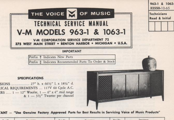 1063-1 Console Service Manual. Comes with 1297 changer manual and 20224 amplifier tuner manual and 1482-1 manual