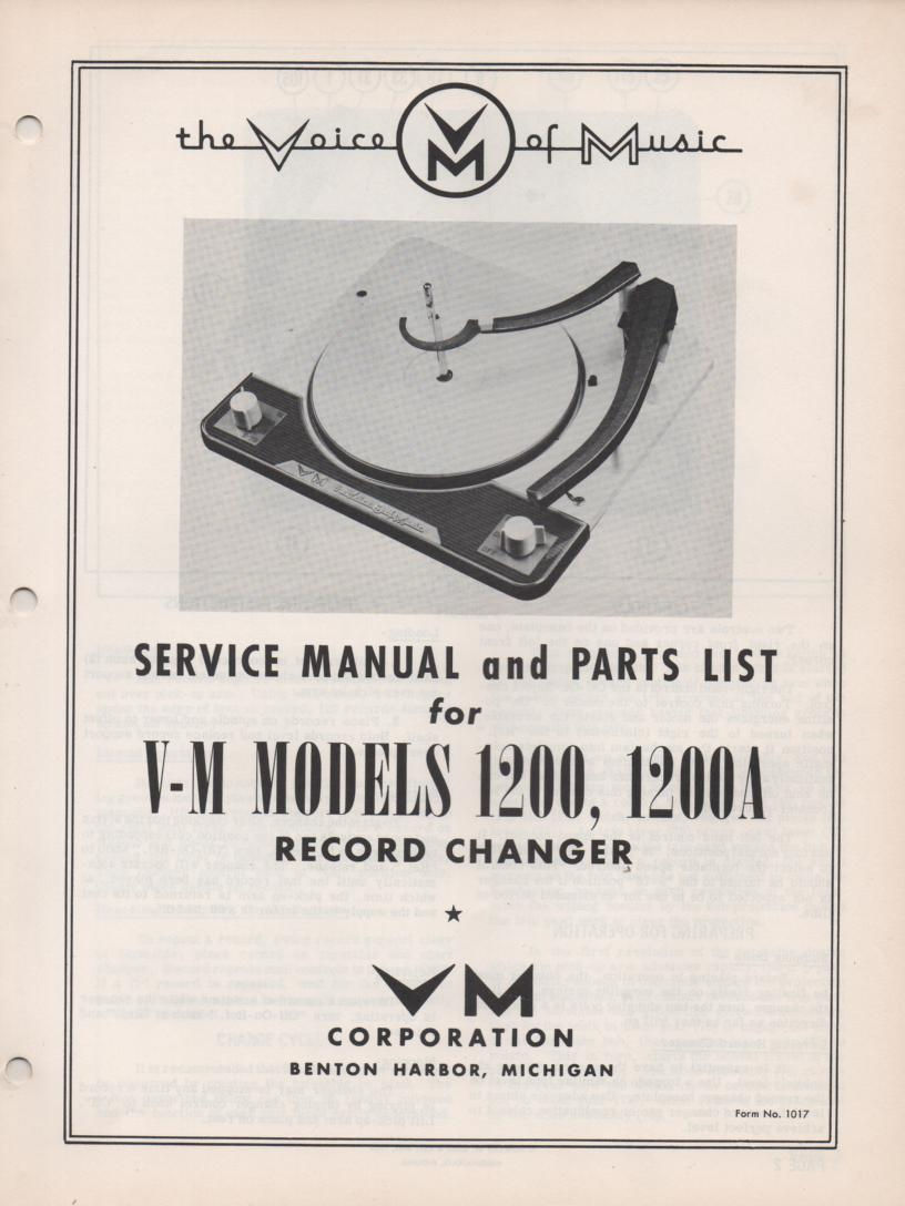 1200 1200A Record Changer Service Manual  VOICE OF MUSIC