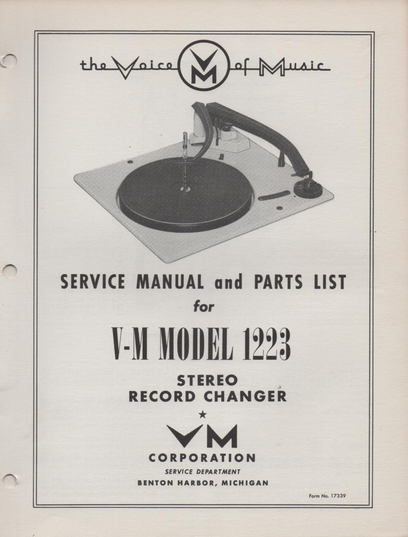 1223 Record Changer Service Manual  VOICE OF MUSIC