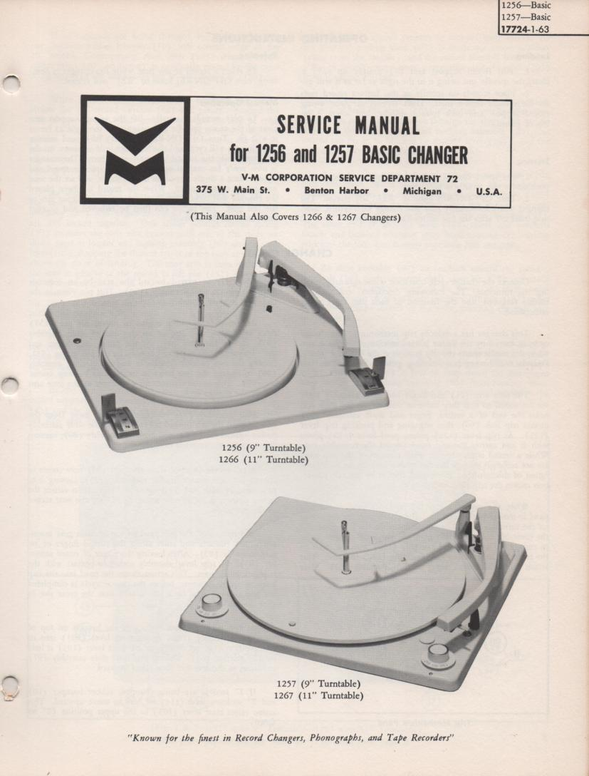 1256 Record Changer Service Manual  VOICE OF MUSIC