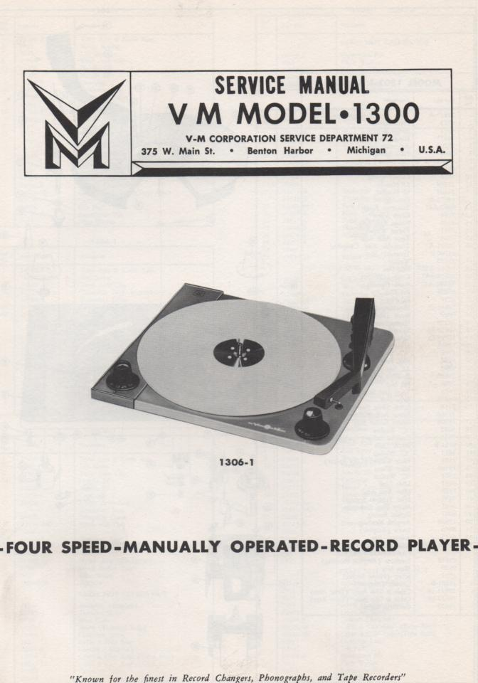 1301 Record Changer Service Manual  VOICE OF MUSIC