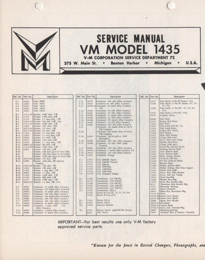 1435 Tuner Service Manual  VOICE OF MUSIC