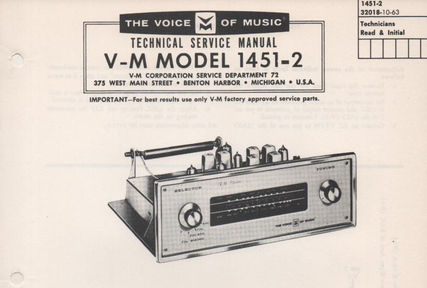 1451-2 Tuner Service Manual  VOICE OF MUSIC