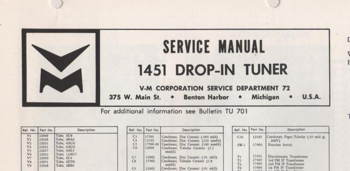 1451 Tuner Service Manual  VOICE OF MUSIC