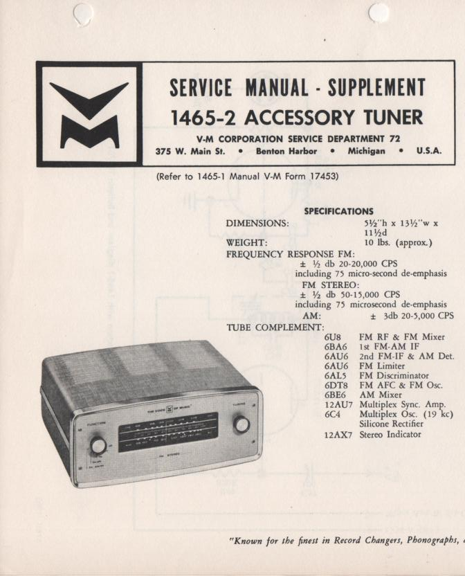 1465-2 Tuner Service Manual  VOICE OF MUSIC