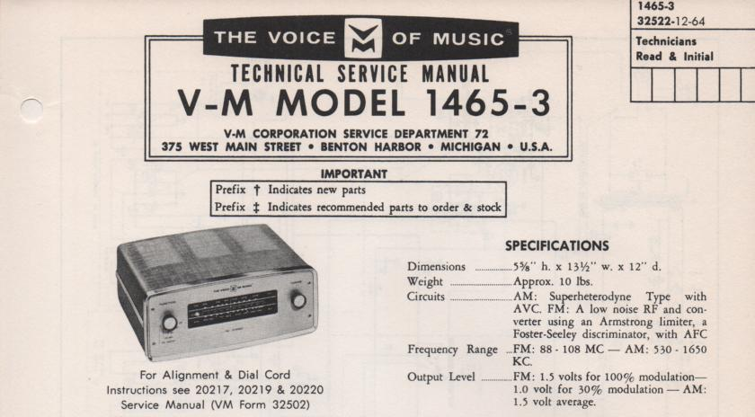 1465 Tuner Service Manual  VOICE OF MUSIC