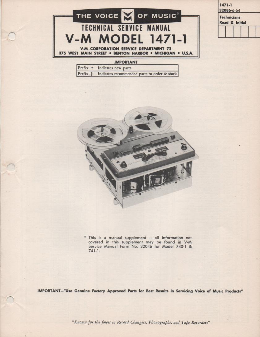 1471-1 Reel to Reel Service Manual  VOICE OF MUSIC