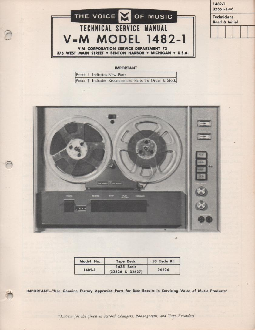 1482-1 Reel to Reel Service Manual  VOICE OF MUSIC