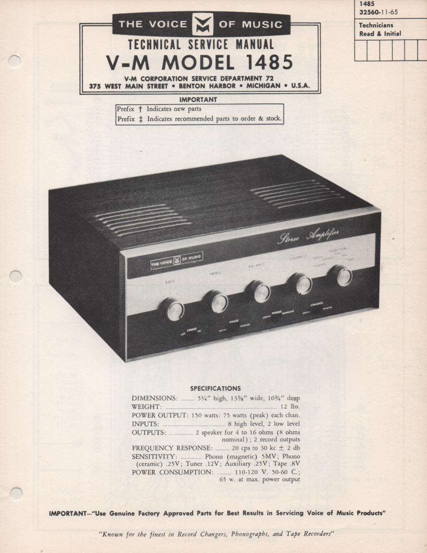 1486 Amplifier Service Manual  VOICE OF MUSIC