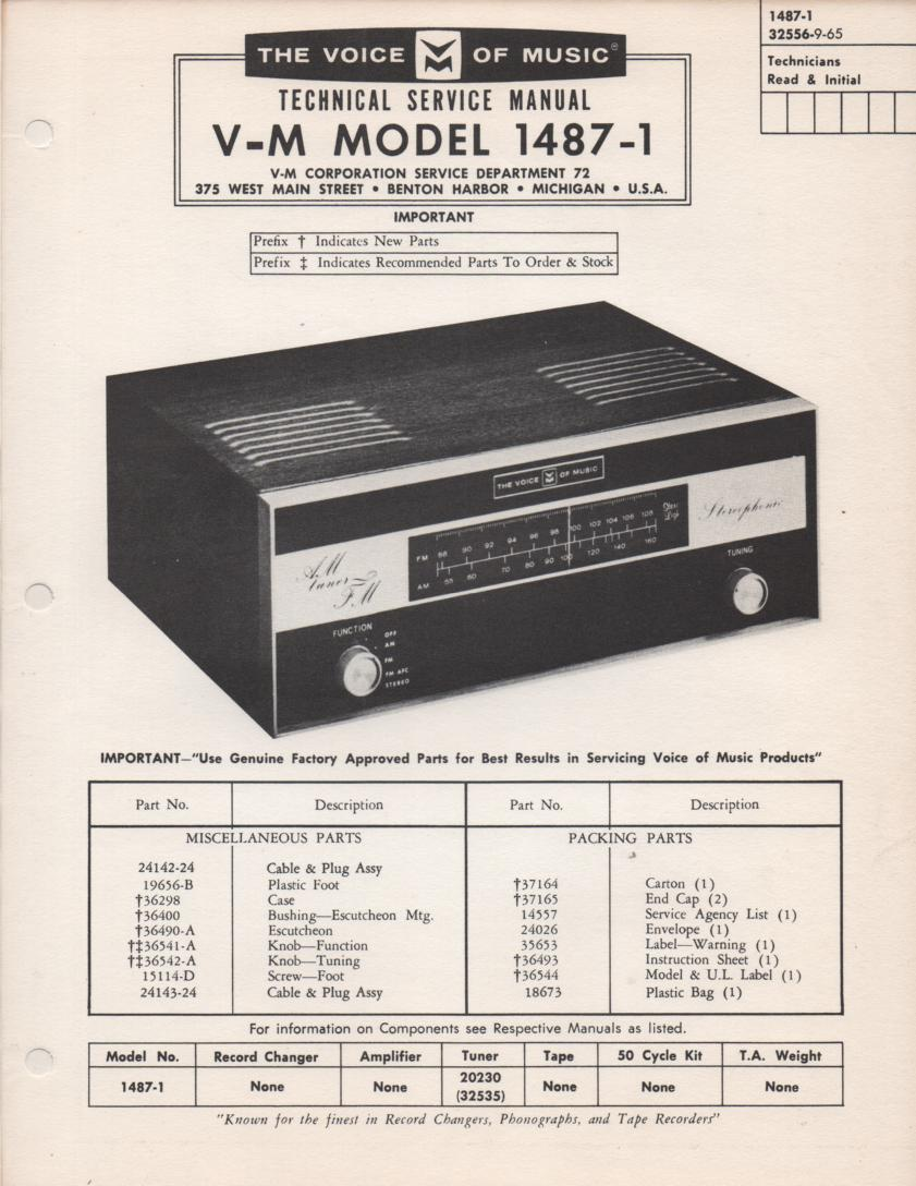 1487-1 Amplifier Service Manual  VOICE OF MUSIC