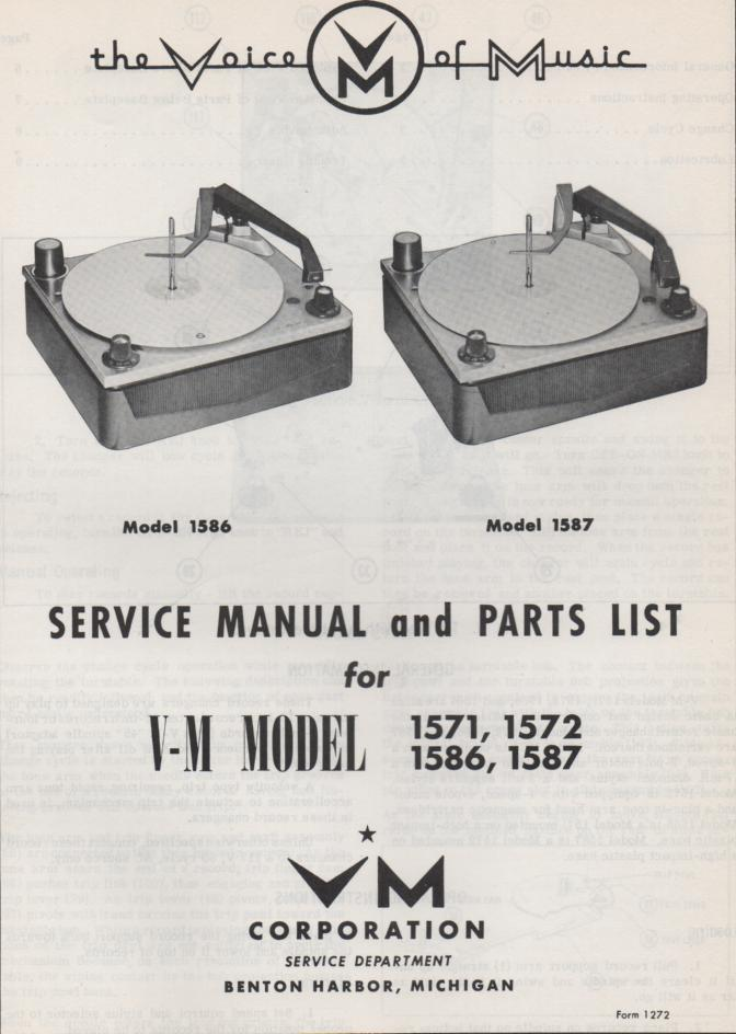 1571 1572 1586 1587 Record Changer Service Manual