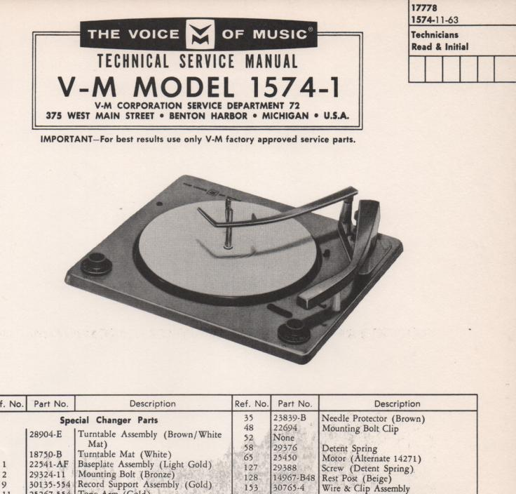 1574-1 Record Changer Service Manual..  Comes with 1256 1257 manual