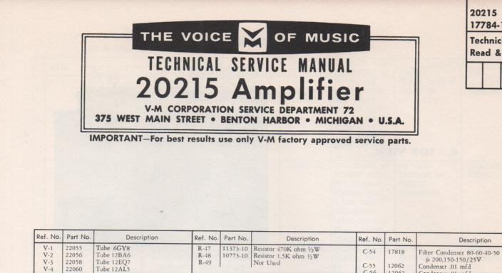 20215 Tuner Amplifier Service Manual  VOICE OF MUSIC