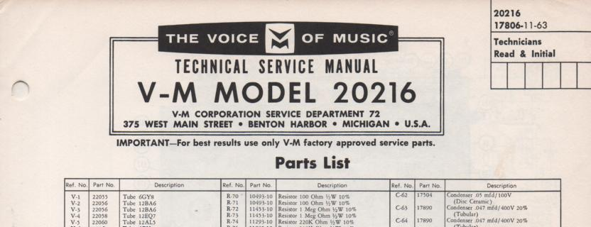 20216 Tuner Amplifier Service Manual  VOICE OF MUSIC