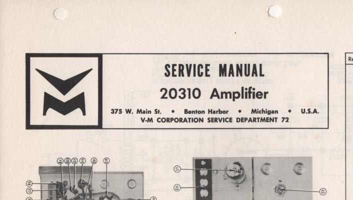 20310 Amplifier Service Manual  VOICE OF MUSIC