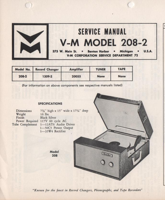 208-2 Portable Phonograph Service Manual.   Comes with 1309 turntable manual and 20055 power supply manual
