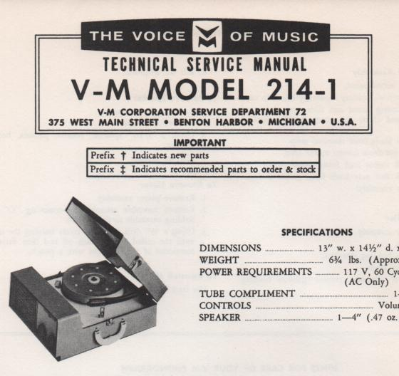 214-1 Phonograph Service Manual  VOICE OF MUSIC