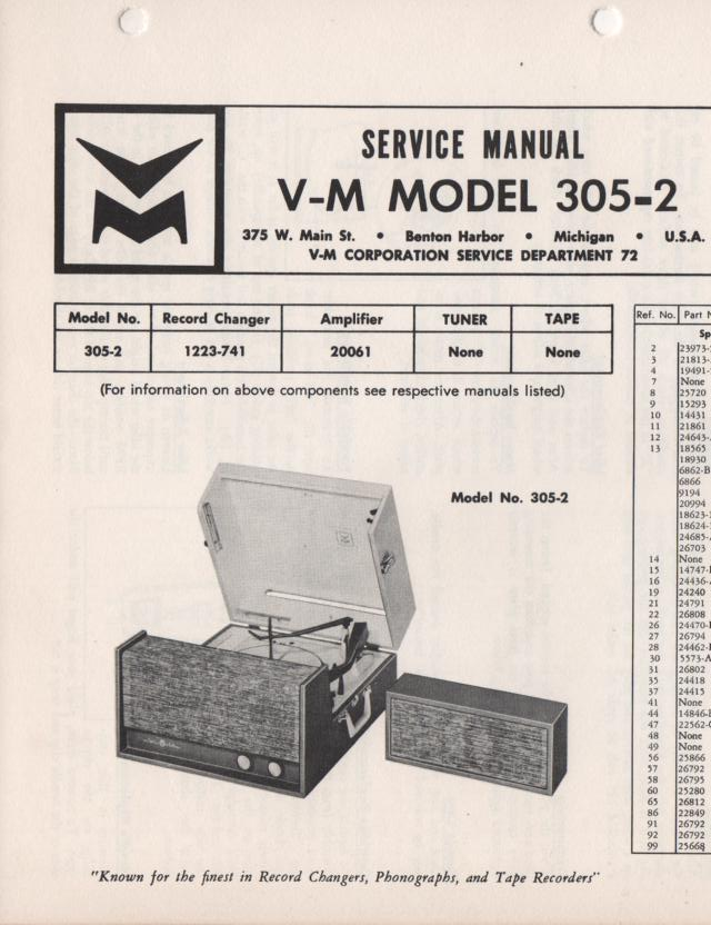 305-2 Portable Phonograph Service Manual.   Comes with 1223 turntable manual and 20061 power amp manual..