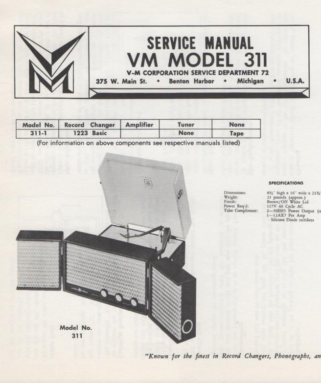 311 Portable Phonograph Service Manual.  comes with 1223 record changer manual..