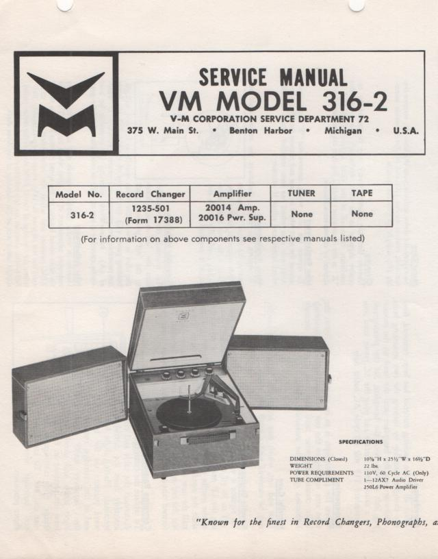 316-2 Portable Phonograph Service Manual