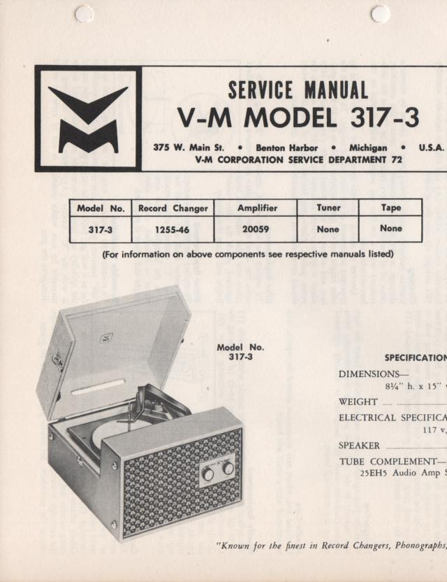 317-3 Portable Phonograph Service Manual Comes with 20059 and 1255 manuals