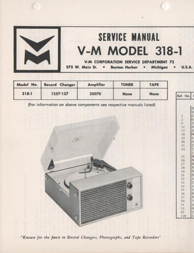 318-1 Portable Phonograph Service Manual comes with 1257 and 20070 manuals