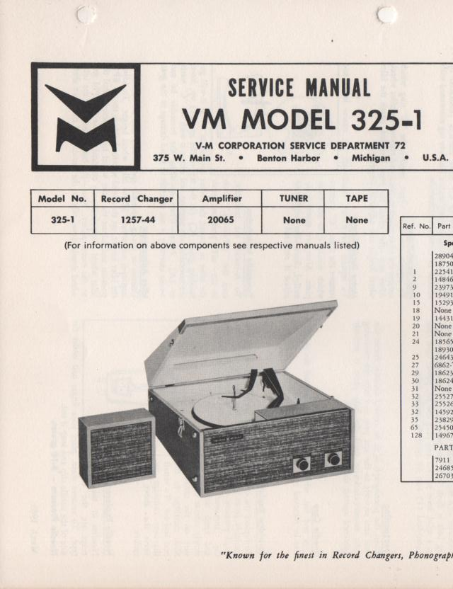 325-1 Portable Phonograph Service Manual Comes with 1257 and 20065 manuals