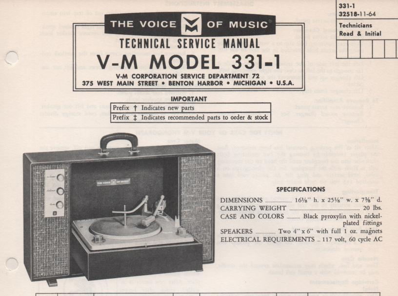 331-1 Phonograph Service Manual  VOICE OF MUSIC