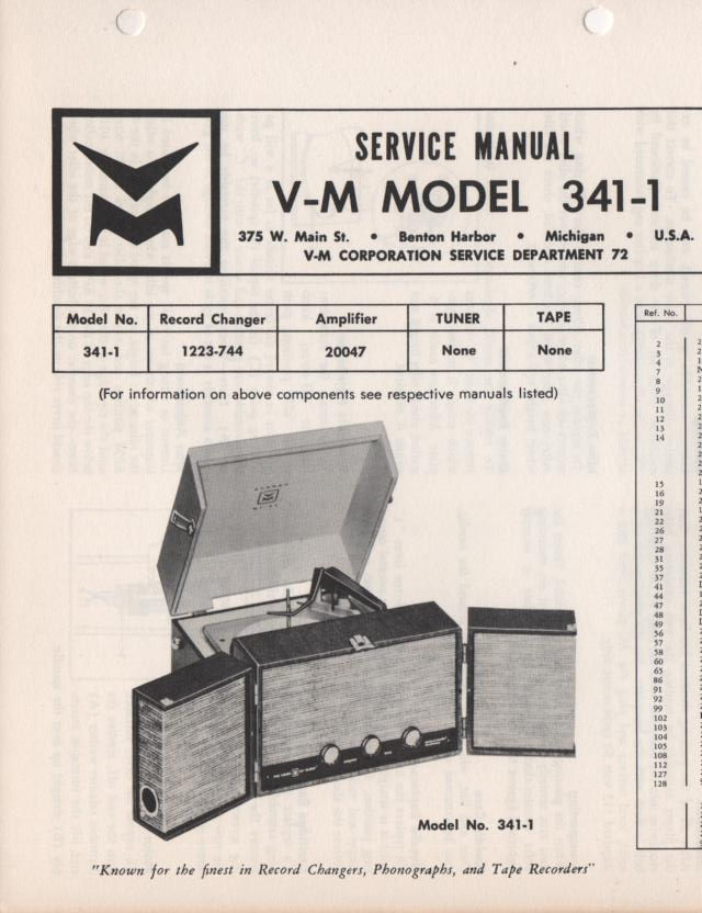 341-1 Portable Phonograph Service Manual Comes with 1223 and 20047 manuals.